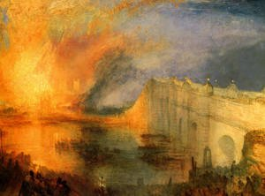 Romanticism painting reproductions: The Burning of the Houses of Parliament (1) 1834