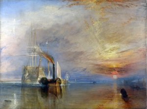 Romanticism painting reproductions: The 'Fighting Temeraire' tugged to her Last Berth to be broken up 1838-39