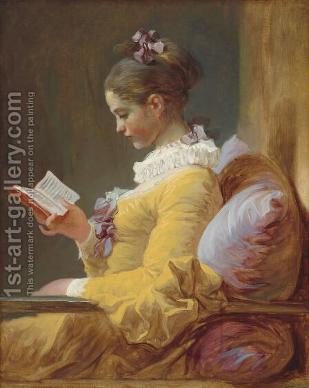 Jean-Honore Fragonard: A Young Girl Reading c. 1776 - reproduction oil painting