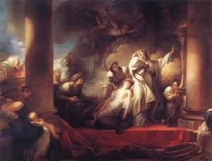 Reproduction oil paintings - Jean-Honore Fragonard - Coresus Sacrificing himself to Save Callirhoe 1765