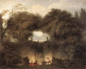 Reproduction oil paintings - Jean-Honore Fragonard - Le petit parc 1764-65