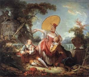 Reproduction oil paintings - Jean-Honore Fragonard - The Musical Contest 1754