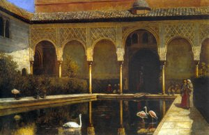 Academic Classicism painting reproductions: A Court In The Alhambra In The Time Of The Moors