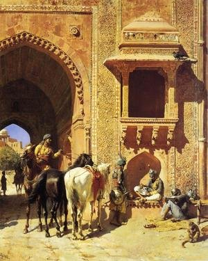 Famous paintings of Horses & Horse Riding: Gate Of The Fortress At Agra  India