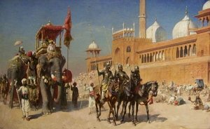 Famous paintings of Military: Great Mogul And His Court Returning From The Great Mosque At Delhi  India