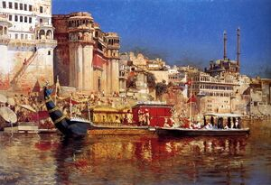 Famous paintings of Ships & Boats: The Barge Of The Maharaja Of Benares