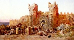 Famous paintings of Camels: The Departure Of A Caravan From The Gate Of Shelah  Morocco