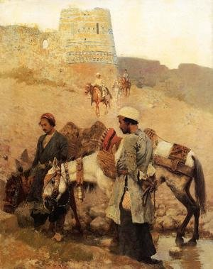 Famous paintings of Horses & Horse Riding: Traveling In Persia