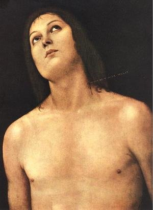 Reproduction oil paintings - Pietro Vannucci Perugino - Bust of St. Sebastian 1493-94