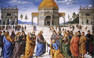 Famous paintings of Squares and Piazzas: Christ Handing the Keys to St Peter 1481-82