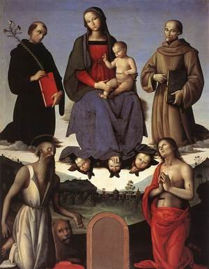 Reproduction oil paintings - Pietro Vannucci Perugino - Madonna and Child with Four Saints (Tezi Altarpiece) 1500