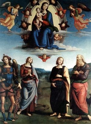 Reproduction oil paintings - Pietro Vannucci Perugino - Madonna in Glory with the Child and Saints 1495-96