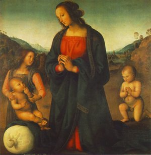 Reproduction oil paintings - Pietro Vannucci Perugino - Madonna  An Angel And Little St John Adoring The Child
