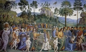 Reproduction oil paintings - Pietro Vannucci Perugino - Moses's Journey into Egypt and the Circumcision of His Son Eliezer c. 1482