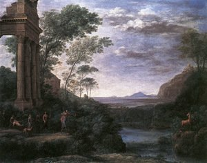 Famous Paintings in Ashmolean Museum, Oxford, UK: Landscape with Ascanius Shooting the Stag of Sylvia 1682