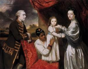 Reproduction oil paintings - Sir Joshua Reynolds - George Clive and his Family with an Indian Maid 1765