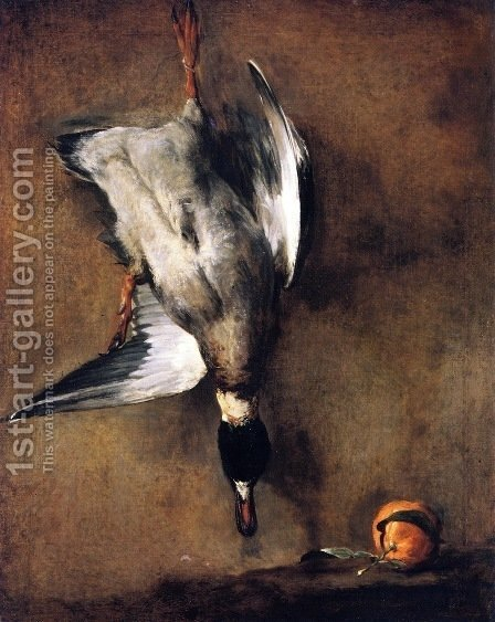 Wild Duck With A Seville Oraange by Jean-Baptiste-Simeon Chardin - Reproduction Oil Painting