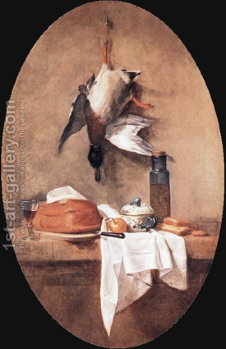 Wild Duck With Olive Jar by Jean-Baptiste-Simeon Chardin - Reproduction Oil Painting