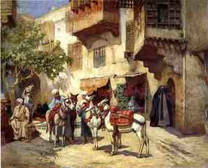 Famous paintings of Horses & Horse Riding: Marketplace In North Africa