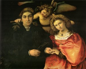 Famous paintings of Couples: Messer Marsilio and his Wife 1523