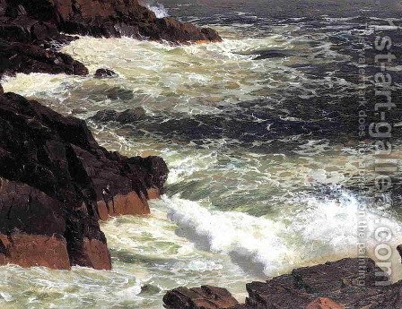 Rough Surf  Mount Desert Island by Frederic Edwin Church - Reproduction Oil Painting