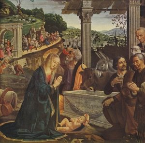 Reproduction oil paintings - Domenico Ghirlandaio - Adoration of the Shepherds 1482-85