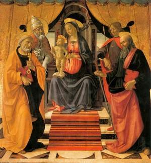 Reproduction oil paintings - Domenico Ghirlandaio - Madonna and Child Enthroned with Saints c. 1479