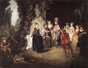 Rococo painting reproductions: The French Comedy 1714