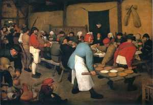 Famous paintings of Cafes & Bistros: Peasant Wedding, c. 1568