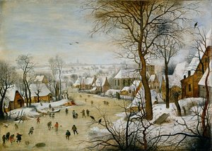 Famous paintings of Villages: Winter Landscape with Skaters and Bird Trap 1565