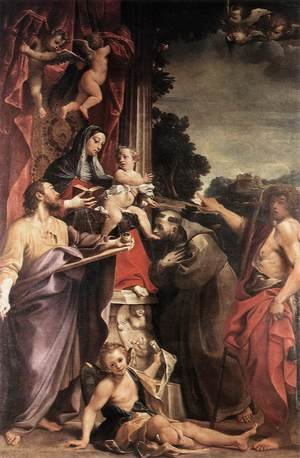Reproduction oil paintings - Annibale Carracci - Madonna Enthroned with St Matthew 1588