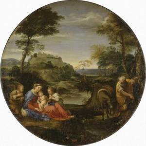 Reproduction oil paintings - Annibale Carracci - Rest on Flight into Egypt c. 1600