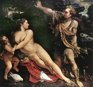 Famous paintings of Domestic Animals: Venus and Adonis c. 1595