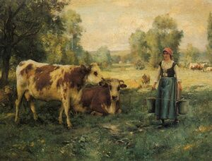 A Milk Maid With Cows And Sheep