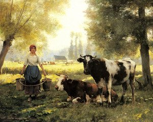 A Milkmaid With Her Cows On A Summer Day