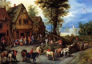 Mannerism painting reproductions: A Village Street With The Holy Family Arriving At An Inn