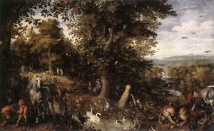 Mannerism painting reproductions: Garden of Eden 1612