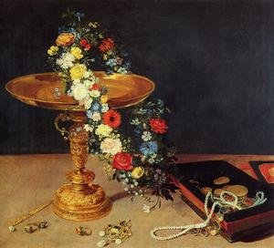 Mannerism painting reproductions: Still-Life with Garland of Flowers and Golden Tazza 1618