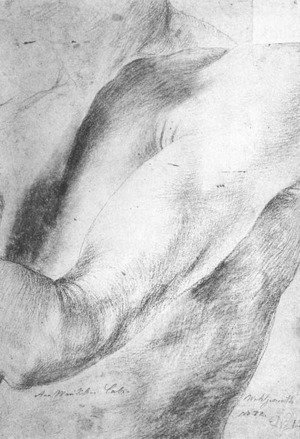 Famous Paintings in Ashmolean Museum, Oxford, UK: Forearm Study 1512-14