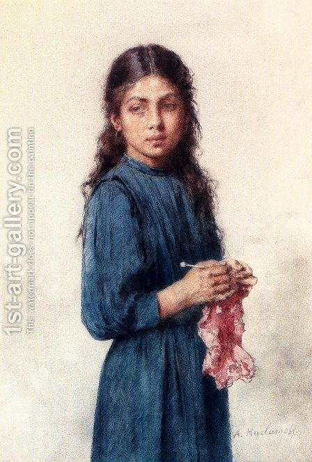 A Young Girl Knitting by Alexei Alexeivich Harlamoff - Reproduction Oil Painting
