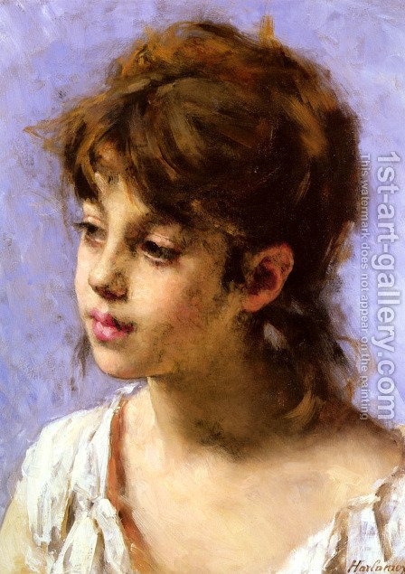 Portrait Of A Peasant Girl by Alexei Alexeivich Harlamoff - Reproduction Oil Painting