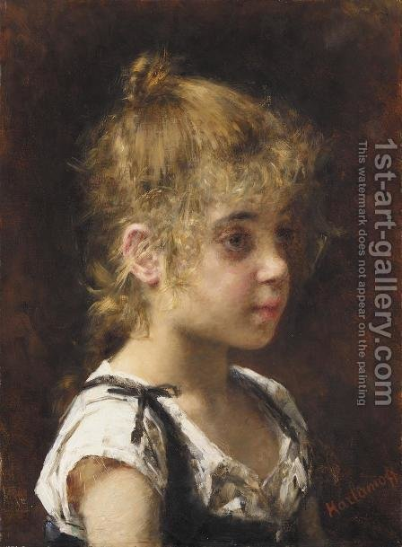 Portrait Of A Young Girl by Alexei Alexeivich Harlamoff - Reproduction Oil Painting