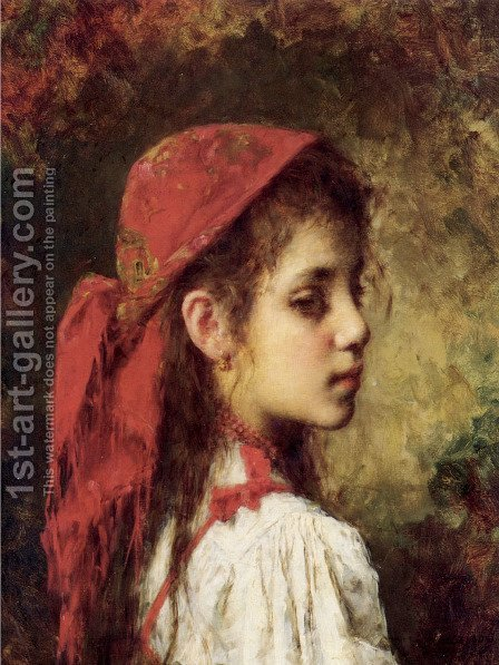 Portrait Of A Young Girl In A Red Kerchief by Alexei Alexeivich Harlamoff - Reproduction Oil Painting