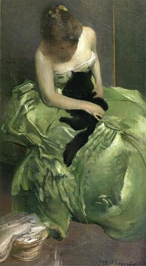 Symbolism painting reproductions: The Green Dress