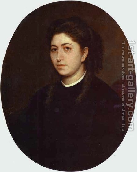 Portrait Of A Young Woman Dressed In Black Velvet by Ivan Nikolaevich Kramskoy - Reproduction Oil Painting