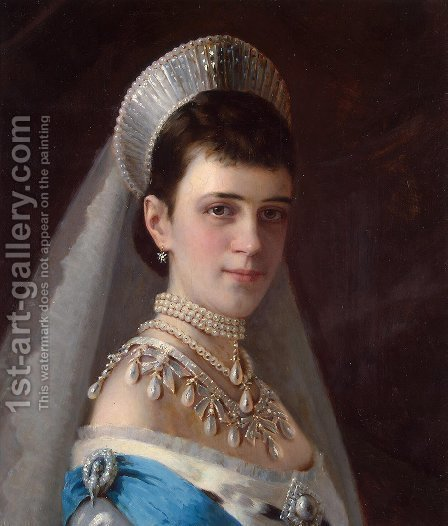 Portrait Of Empress Maria Fyodorovna In A Head Dress Decorated With Pearls by Ivan Nikolaevich Kramskoy - Reproduction Oil Painting