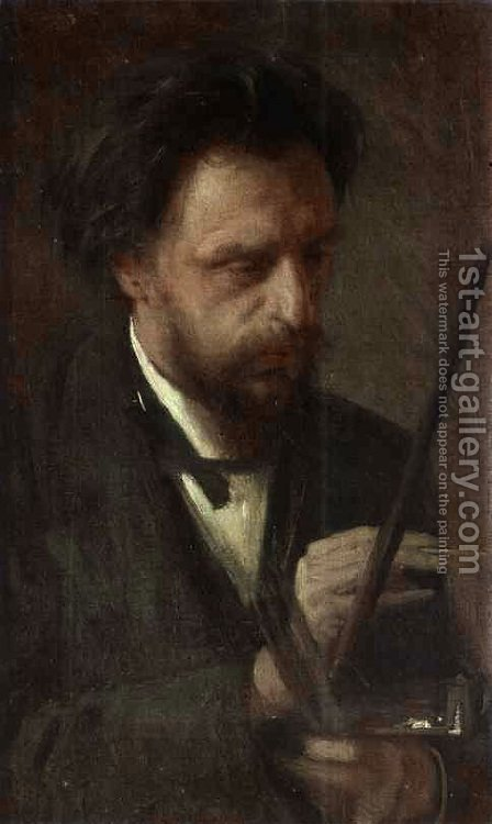 Portrait Of The Artist Grigory Myasoyedov by Ivan Nikolaevich Kramskoy - Reproduction Oil Painting