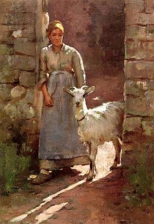 Famous paintings of Goats: Girl With Goat