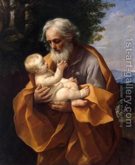 St Joseph with the Infant Jesus c. 1635 by Guido Reni - Reproduction Oil Painting