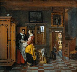 Famous paintings of Furniture: At the Linen Closet 1665